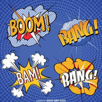 Comic sound effect set - vector gratuit #363767