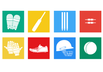 Cricket Player Vectors Flat Icon - бесплатный vector #363877