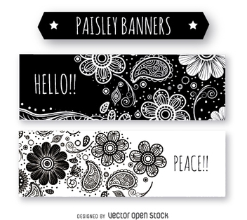 Black and white paisley banners - vector gratuit #364227