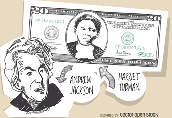 20 dollar bill with Harriet Tubman - Free vector #364237