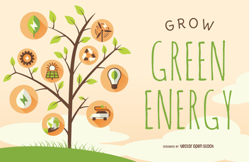 Green energy poster with tree and icons - vector gratuit #364407