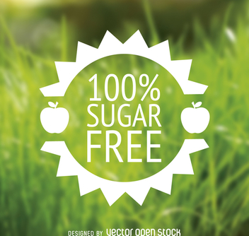 Suger free food label in flat design - vector gratuit #364437