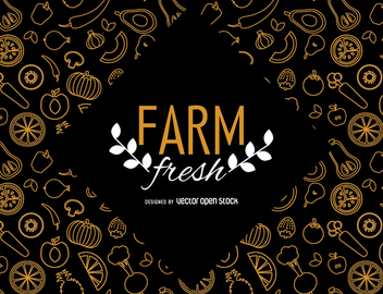 Farm fresh wallpaper with vegetables - vector gratuit #364447