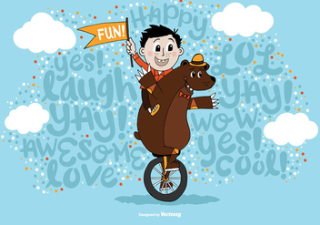 Random Fun Boy & Bear Unicycle Vector - бесплатный vector #364607