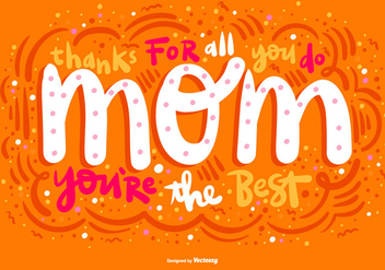Mother's Day Bubble Lettering Vector - Free vector #364637