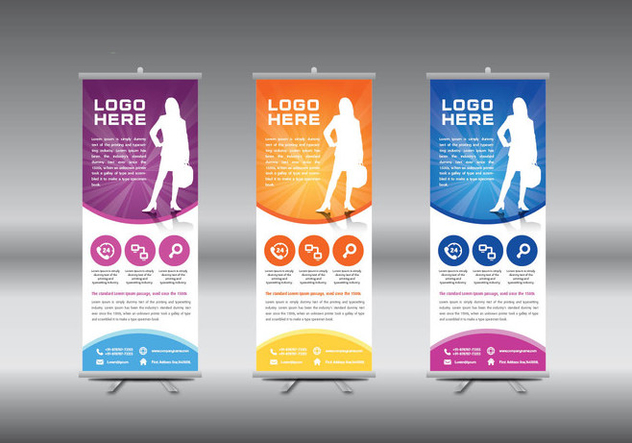 Roll Up Banner template vector illustration - vector gratuit #364727