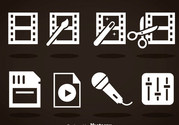Video Editing White Icons - vector gratuit #364957