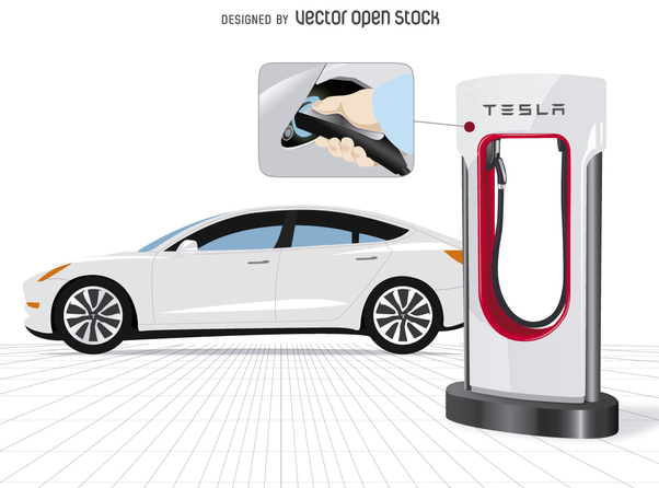 Tesla car with charger and close up - Free vector #365057