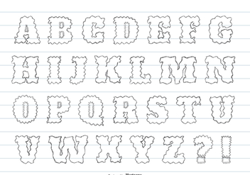 Cute Messy Hand Drawn Alphabet - vector gratuit #365127