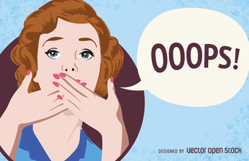 Ooops sign with woman covering her mouth - vector gratuit #365177