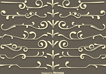 Vector Beige Scrollwork Elements - Free vector #365317