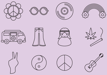 Hippie Icons - Free vector #365757