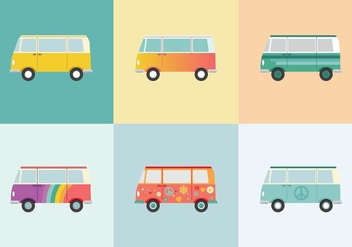 Free Hippie Bus Vectors - бесплатный vector #365887