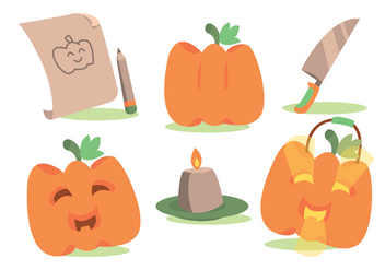 Fun Pumpkin Patch Vector Set - vector gratuit #366087