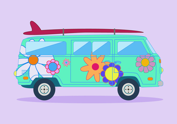 Free Hippie Bus Vector - бесплатный vector #366487