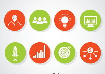 Entrepreneurship Circle Icons Vector - бесплатный vector #366567