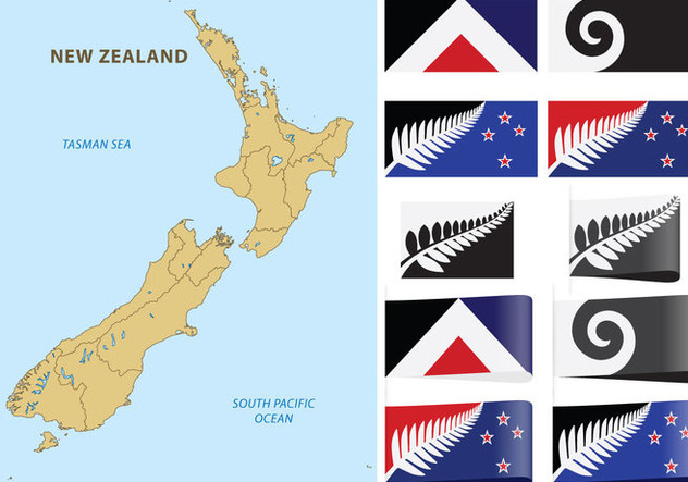 New Zealand Map And Flags - vector gratuit #366887