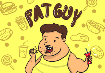 Fat Guy Vector - Free vector #367137