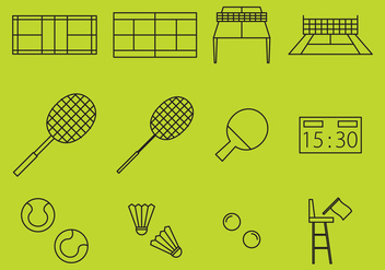 Racket Sport Line Icons - Free vector #367277