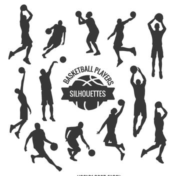 Basketball players silhouettes set - vector gratuit #367347