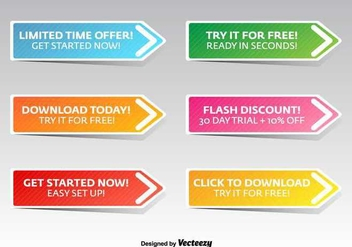 Flat Call To Action Vector Buttons - vector #367507 gratis