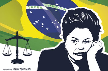 Dilma Rousseff impeachment stencil over Brazilian flag - Free vector #367597