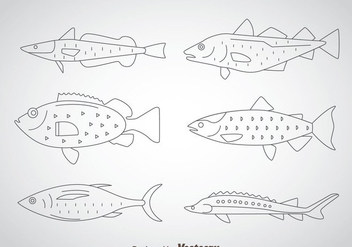 Fish Thin Outline Icons - vector gratuit #367637