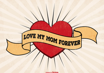 I Love Mom Tattoo Style Illustration - Free vector #367787