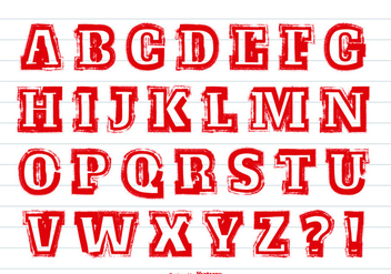 Messy Red Paint Alphabet Set - vector #367857 gratis