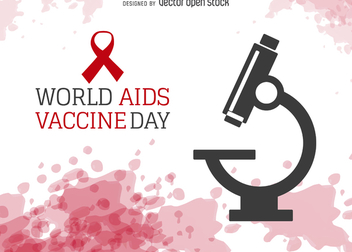 World AIDS Vaccine Day with microscope - бесплатный vector #368047
