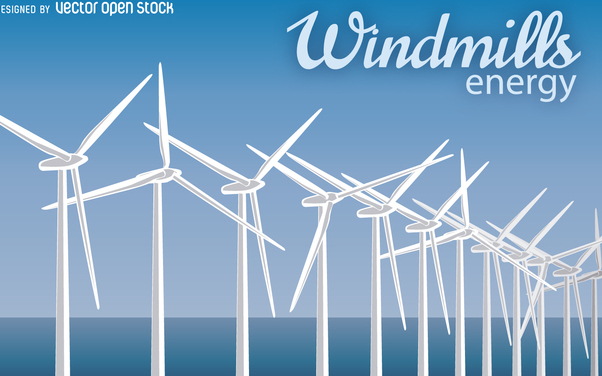 Windmill energy illustration - vector gratuit #368057