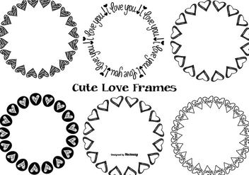 Cute Hand Drawn Love Frames - vector gratuit #368117