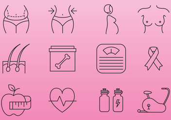 Women Health And Beauty Icons - vector gratuit #368127