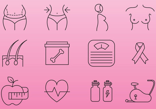 Women Health And Beauty Icons - Free vector #368127
