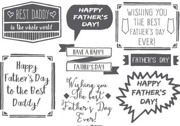 Cute Messy Hand Drawn Style Father Day Labels - бесплатный vector #368557