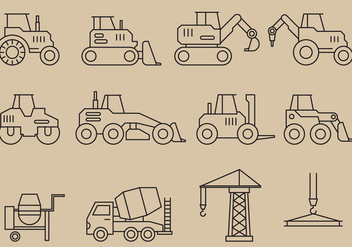Construction Vehicles Icons - vector #368867 gratis