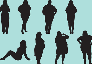 Fat Woman Silhouettes - vector gratuit #368887