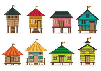 Set Of Shack Vector - vector #369057 gratis