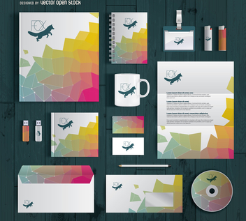 Stationary supplies branding mockup - vector gratuit #369227