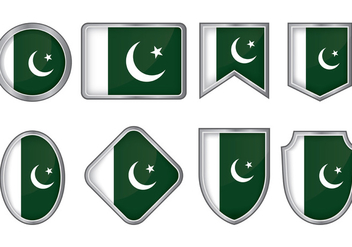 Pakistan Flag Badge Vectors - бесплатный vector #369257