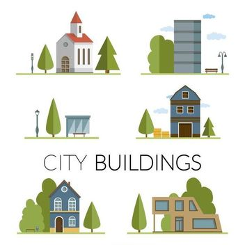 City buildings drawing set - Free vector #369477