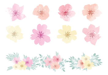 Vector Watercolor Hawaiian Flower Elements - vector gratuit #369767