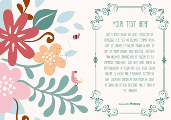 Cute Floral Text Template - vector #369817 gratis