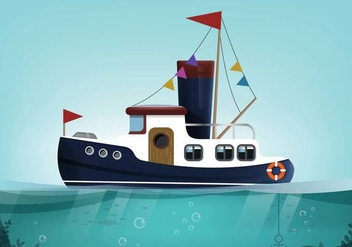 Tugboat Landscape Vector - бесплатный vector #369947