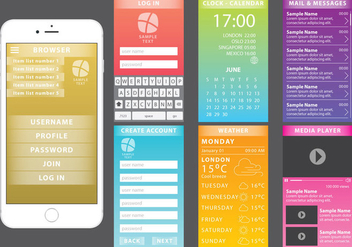 Colorful Web Kit For Mobile Devices - Free vector #370407