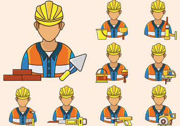 Bricklayer Icon Vector - Free vector #370497