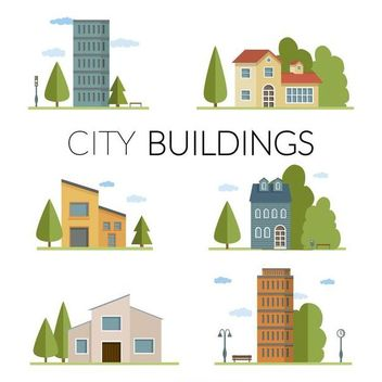 Flat city buildings illustration set - Kostenloses vector #370707