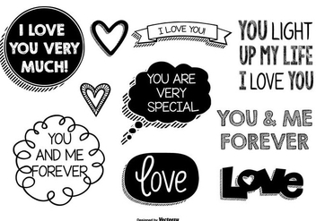 Cute Love Doodles - vector #370757 gratis