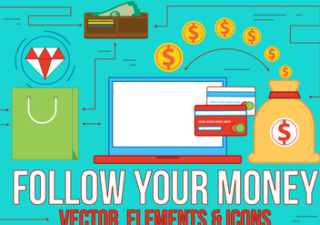 Follow Your Money Flat Design Vector - бесплатный vector #370817
