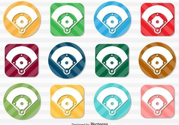 Vector Set Of Baseball Field Icon Buttons - Kostenloses vector #370917